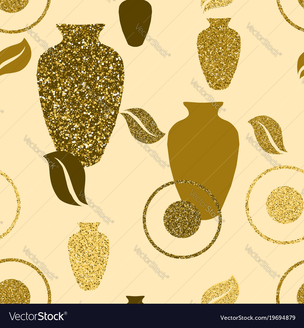 Golden seamless pattern with vases