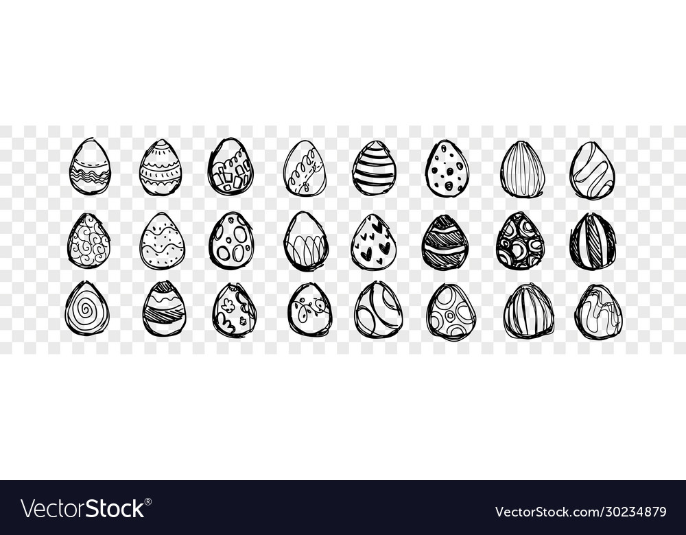 Hand drawn easter eggs set collection
