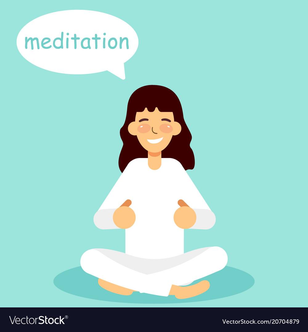Meditating woman vector image