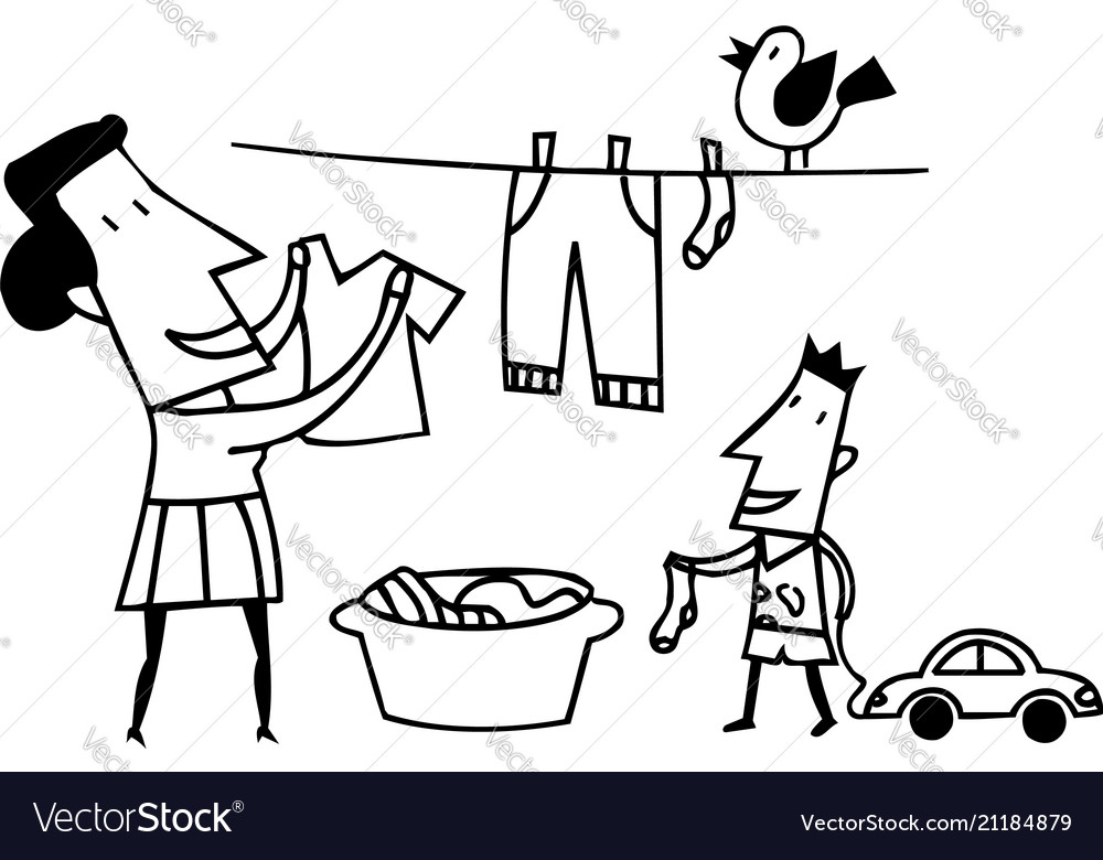 Mom clothes drying outlined cartoon handrawn