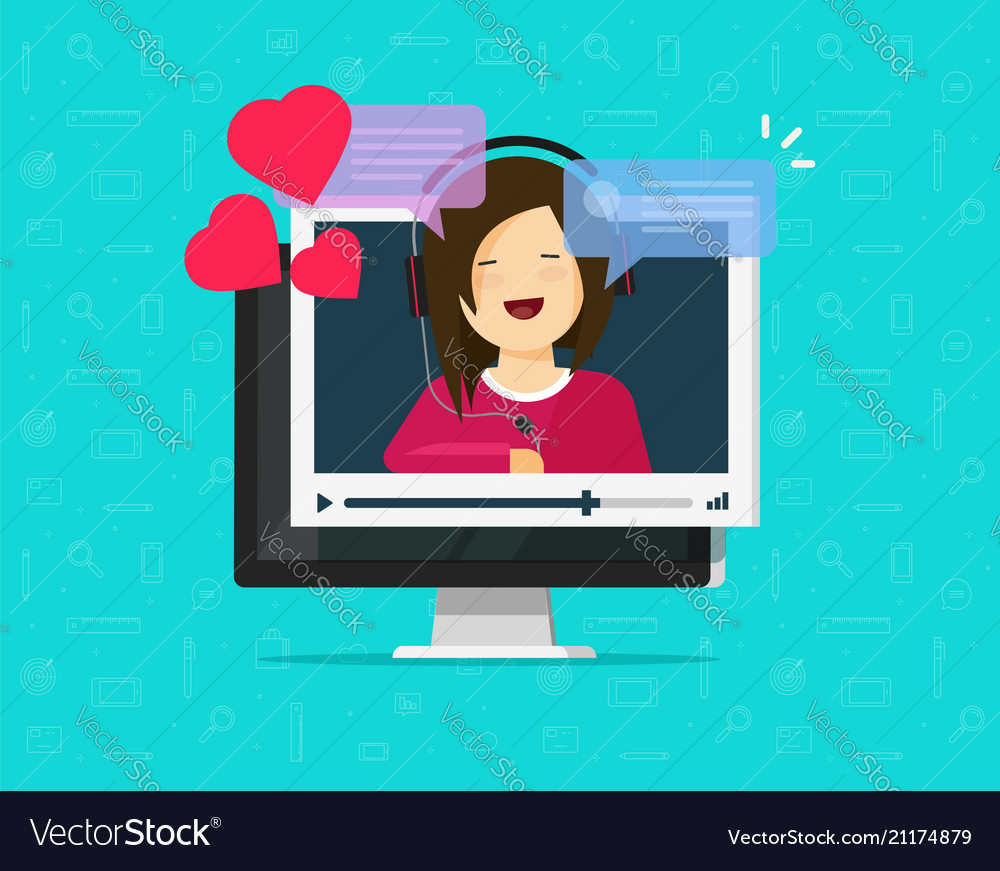 Online remote dating concept on computer video