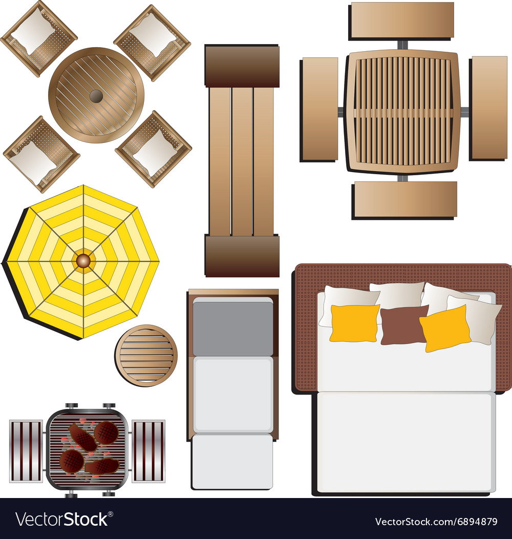 Outdoor Furniture Top View Set 15 For Landscape Vector Image