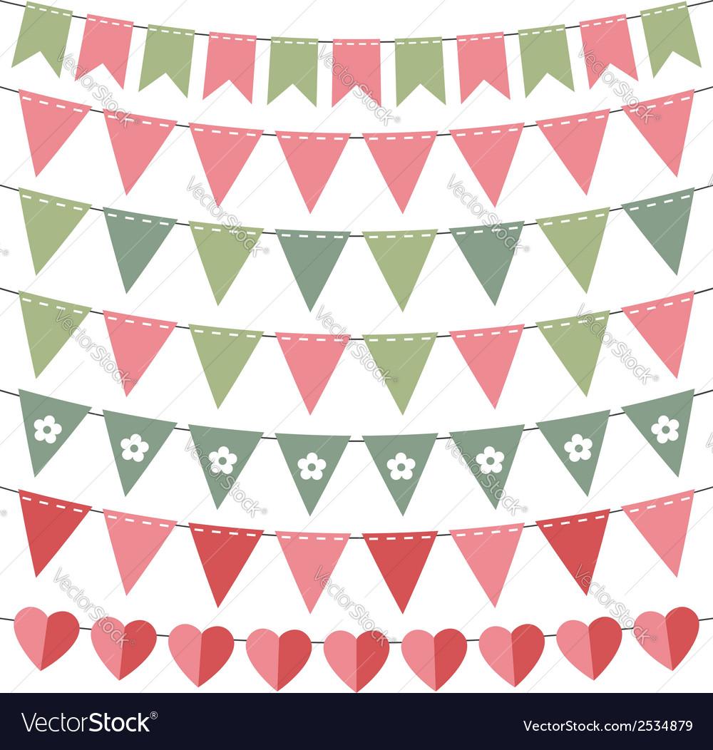 Pink and green bunting set vector image