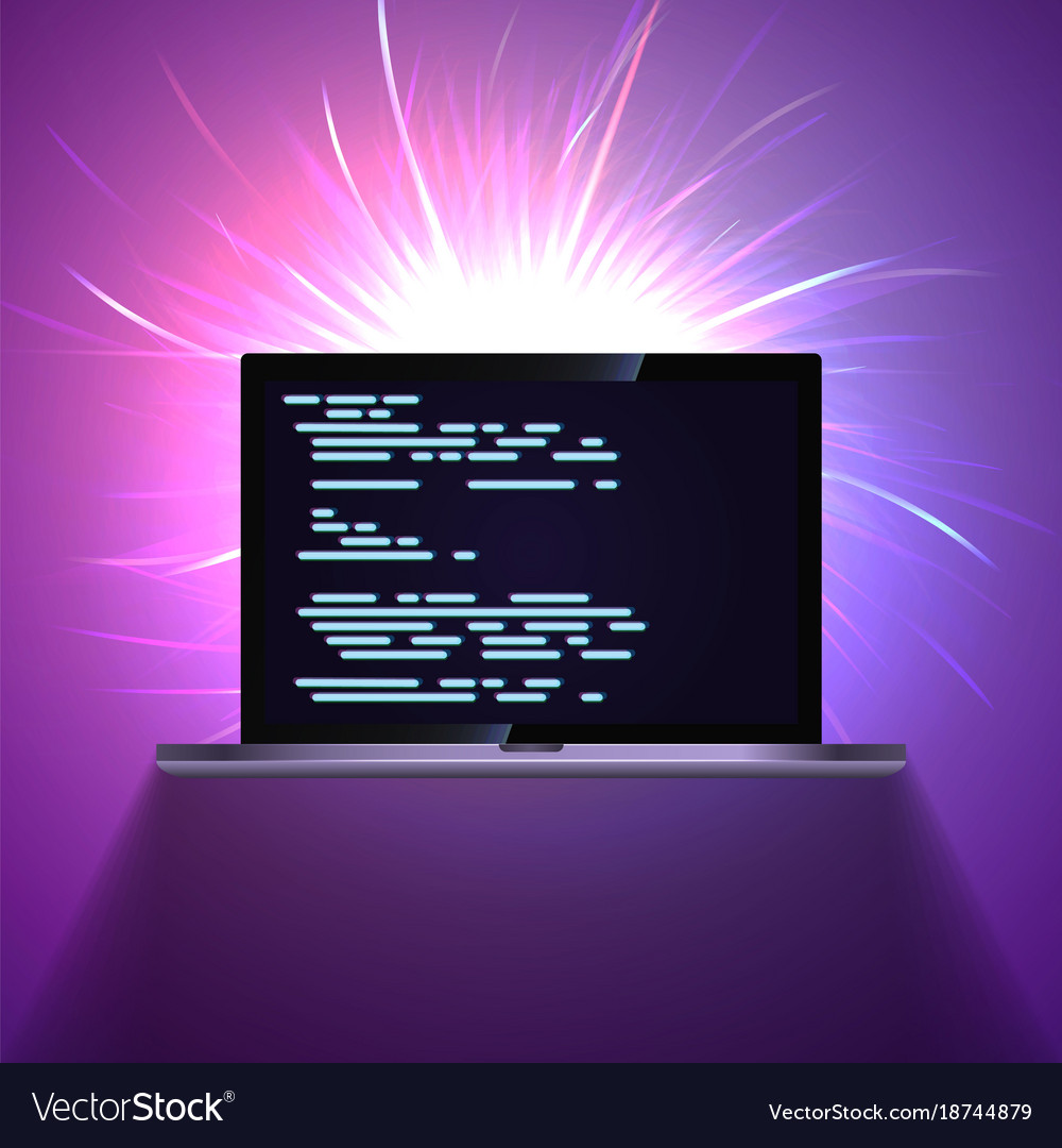 Portable laptop on glowing dark abstract