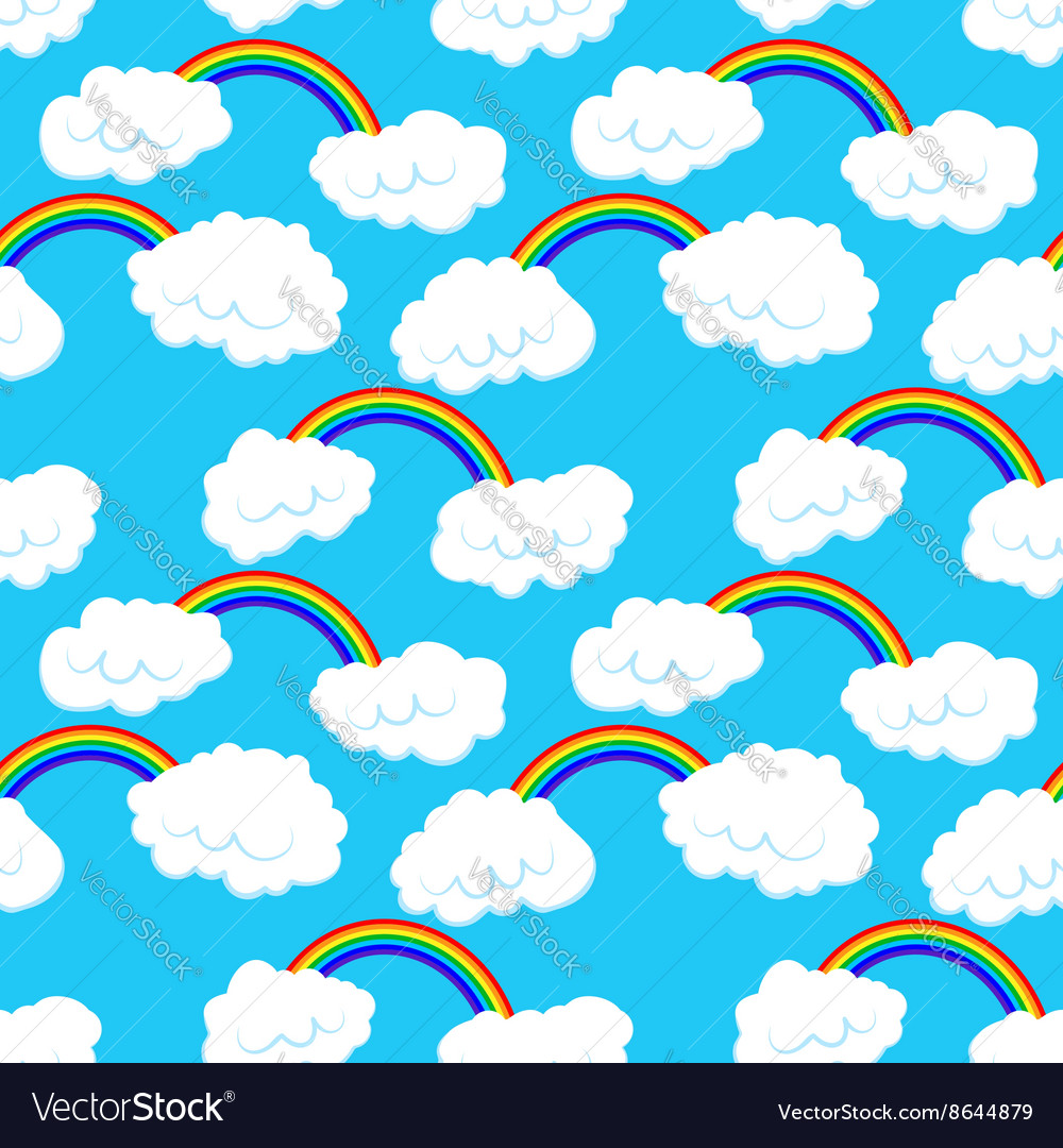 Seamless pattern with clouds and rainbow