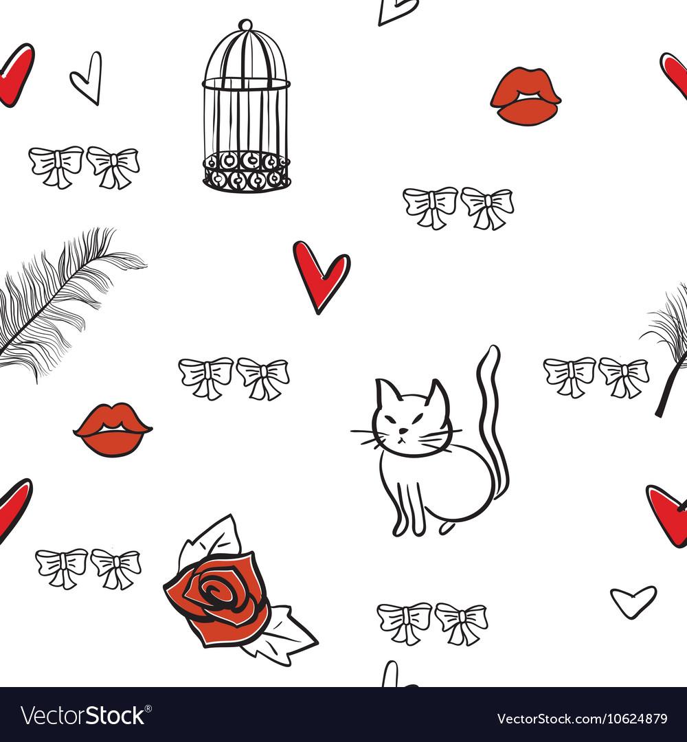 Seamless romantic elements pattern