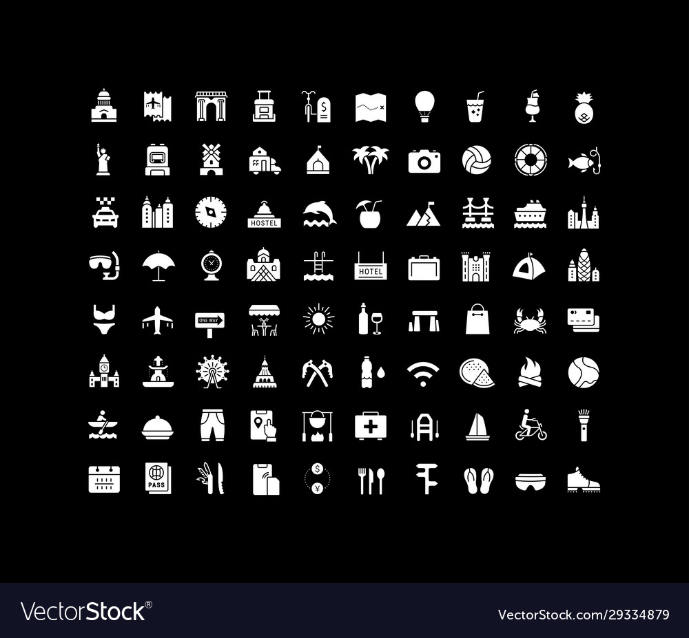 Set simple icons travel