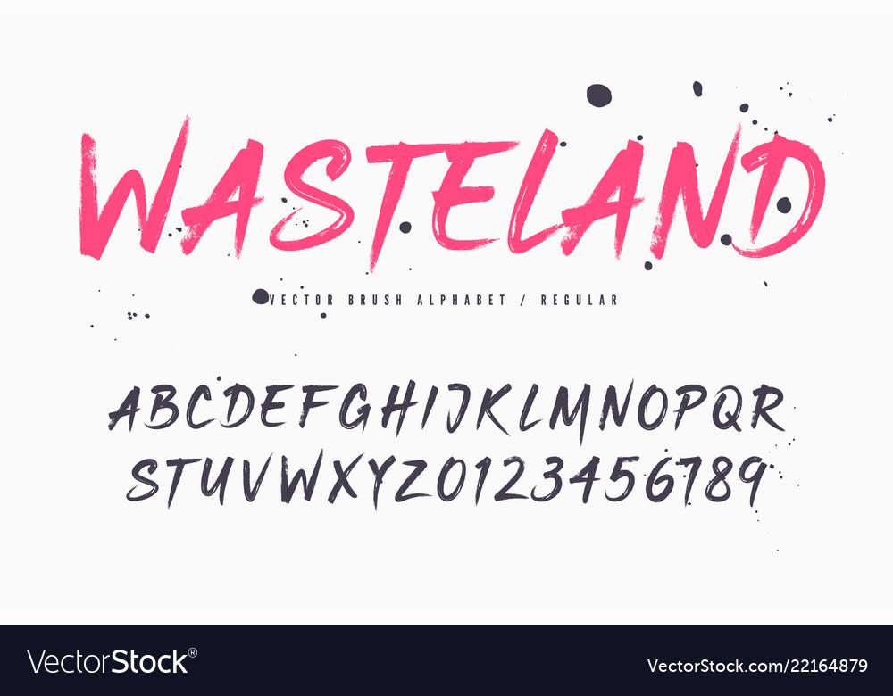 Wasteland brush style font alphabet