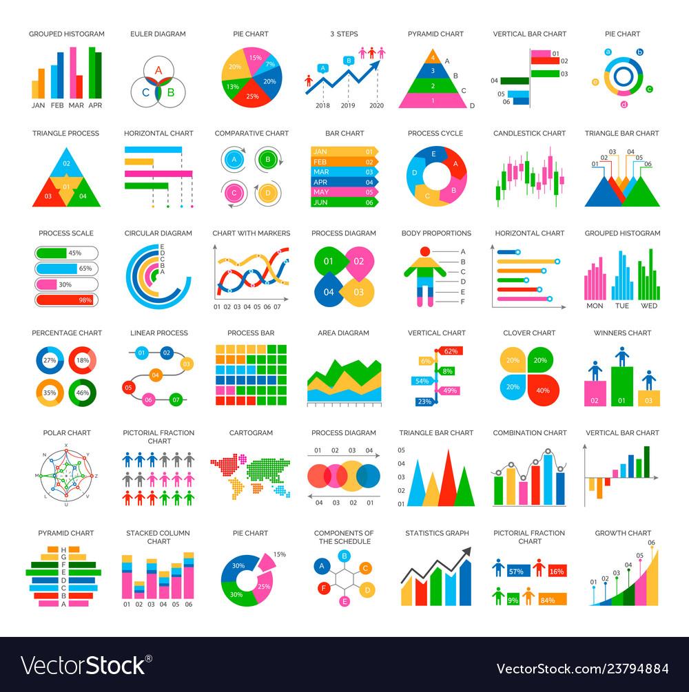 Analytics statistics icons in flat style