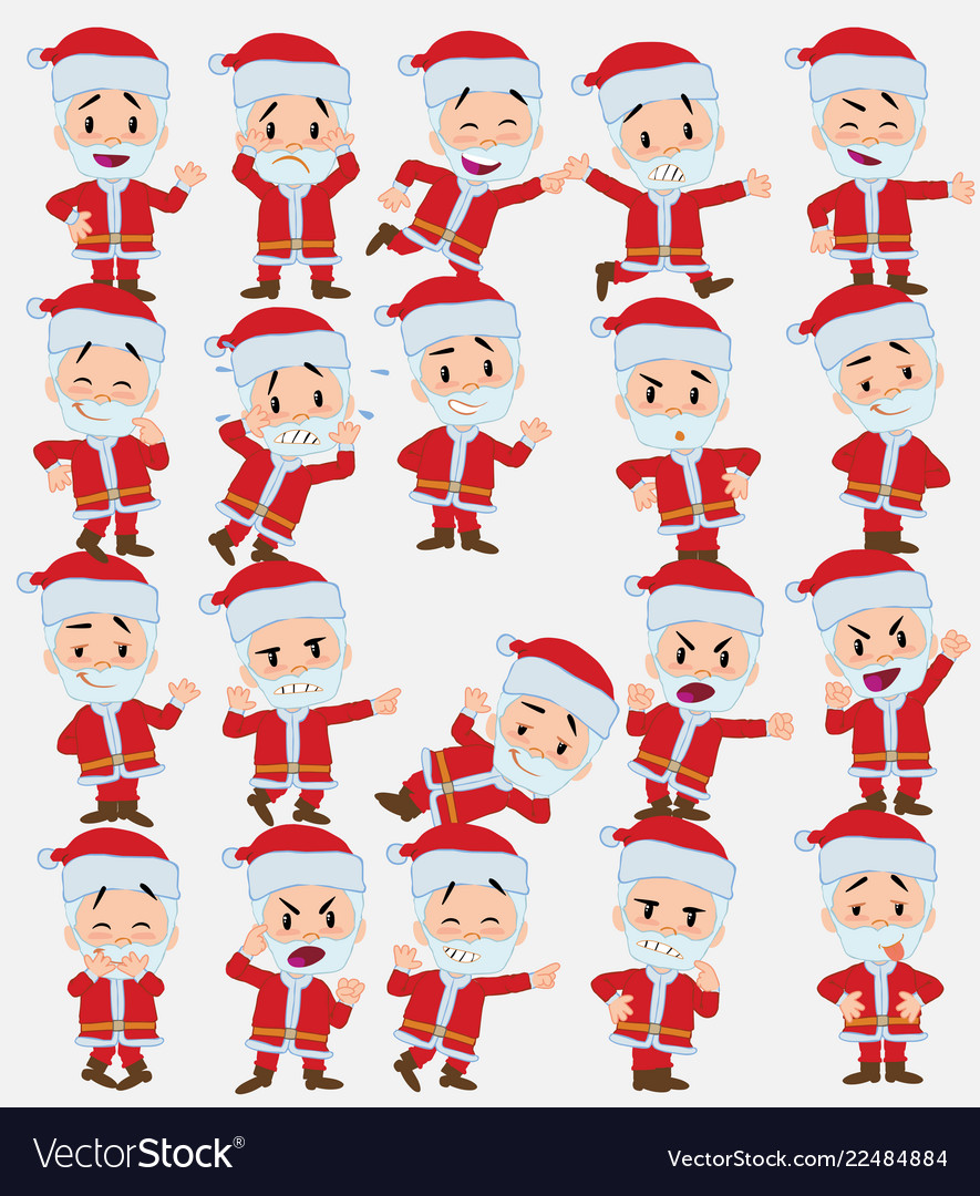 Cartoon character santa claus set with different