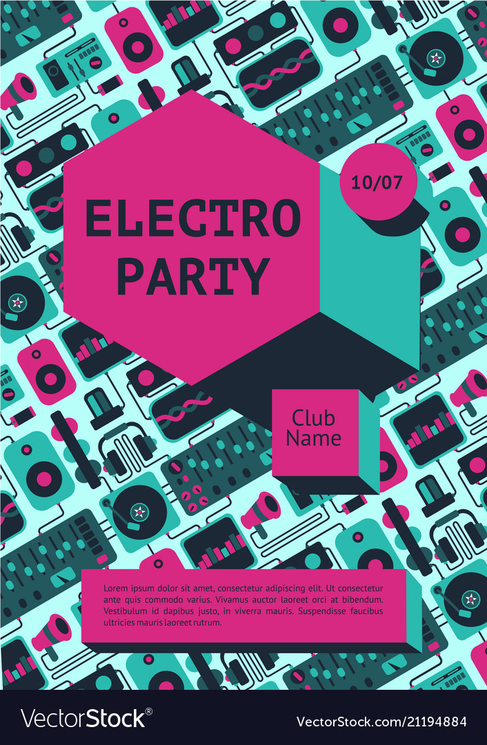 Electro party poster with dj equipment on a