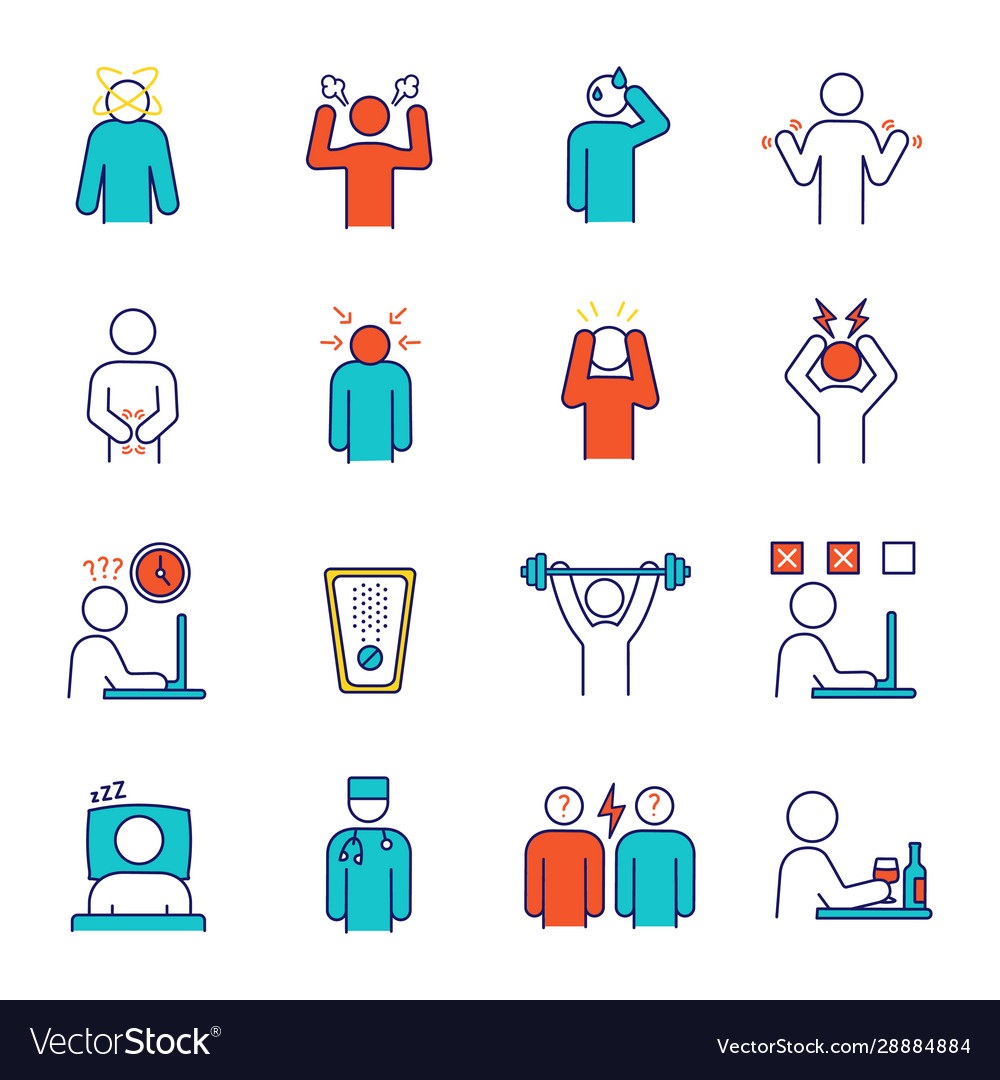 - Emotional Stress Color Icons Set Royalty Free Vector Image