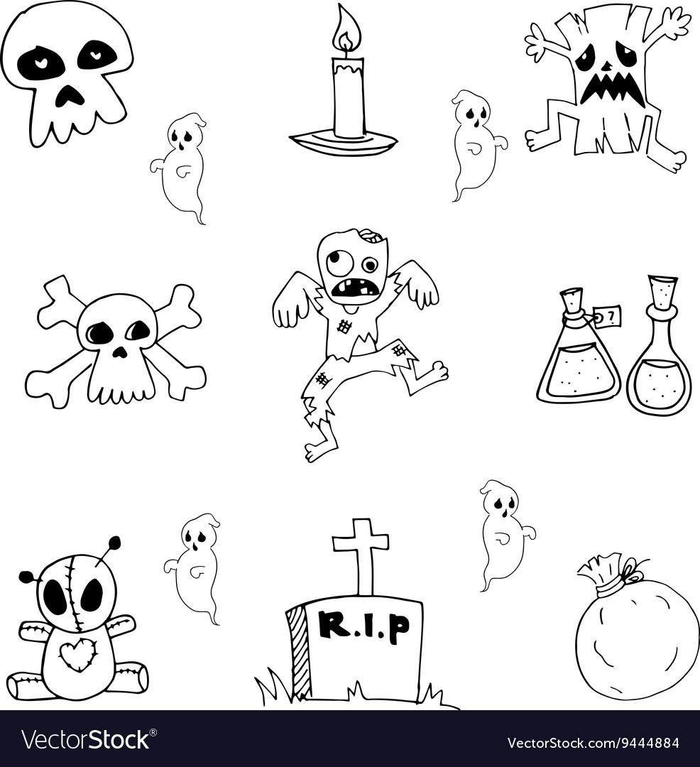 Halloween doodle set zombie tomb ghost