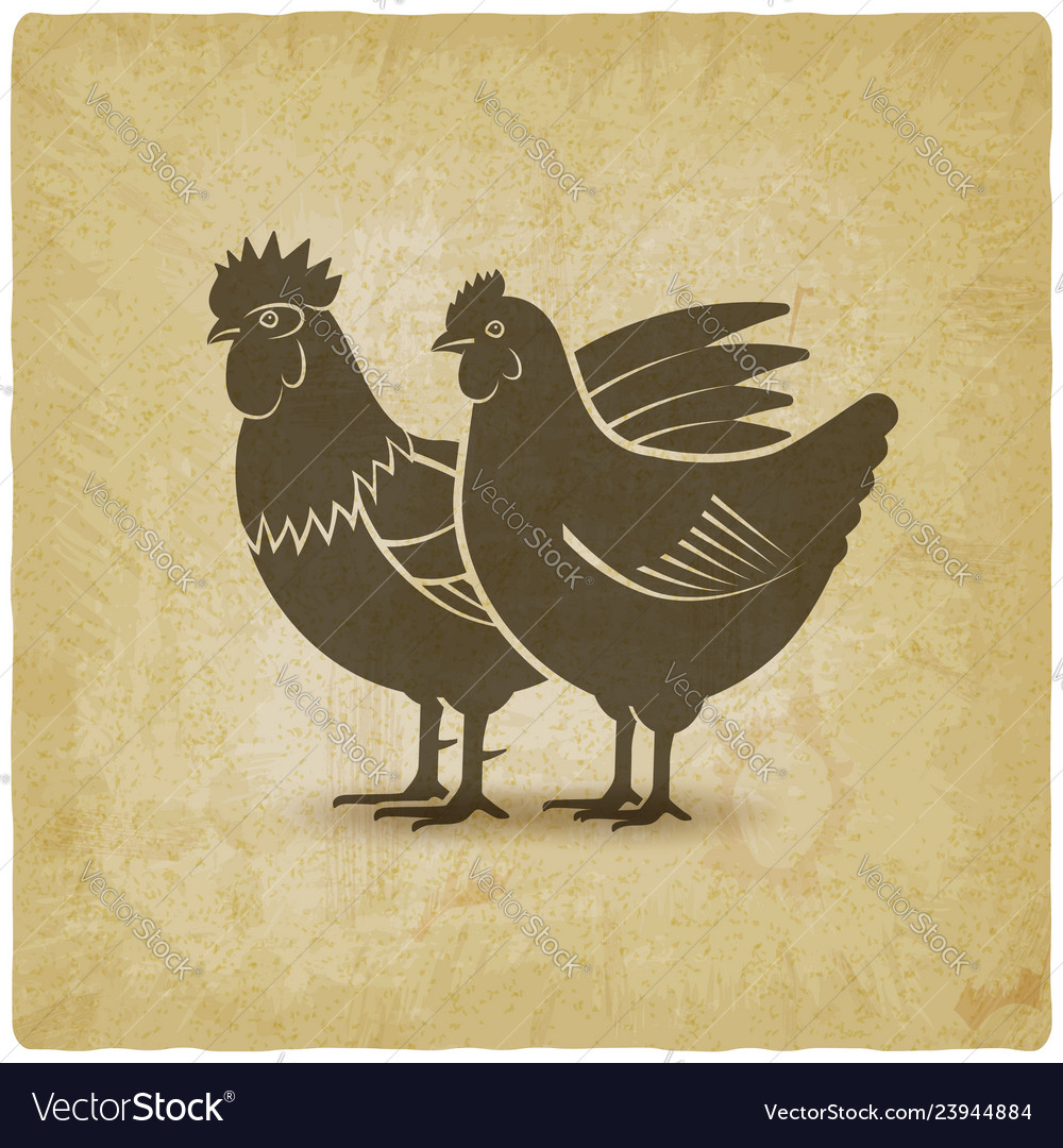 Hen and rooster silhouettes vintage background