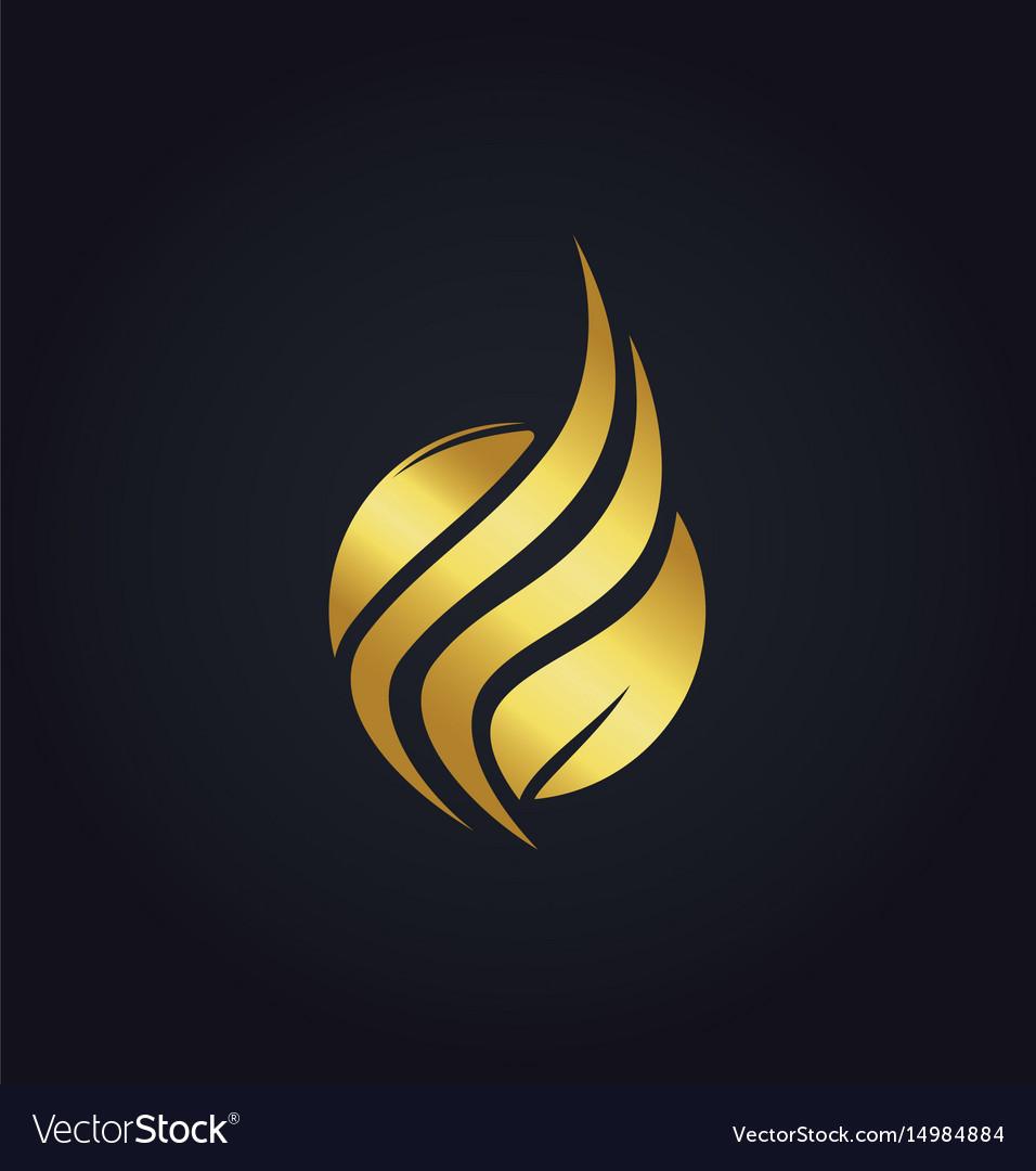 Leaf organic wave gold logo vector image