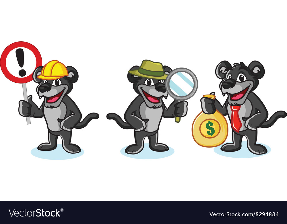 Panther Mascot with money vector image