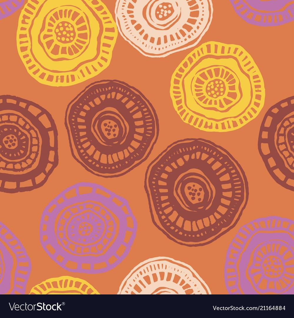 Seamless pattern with hot aborigine flowers