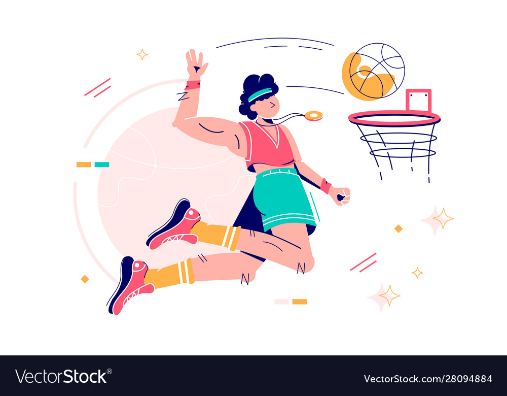 Sportsman throwing ball into basketball hoop