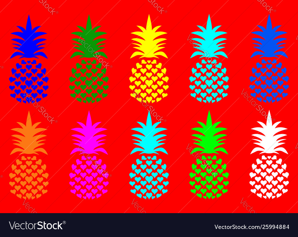 Summer pineapple fruit with vivid fashion colors