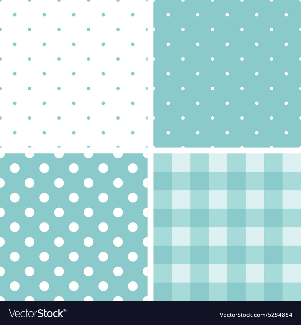 Tile blue and white pattern set with polka dots vector image