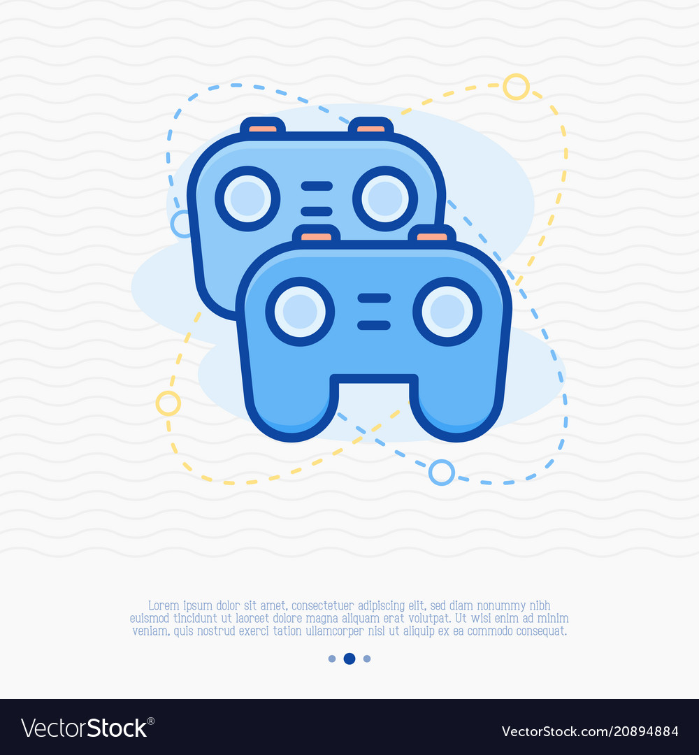 Two game controllers thin line icon