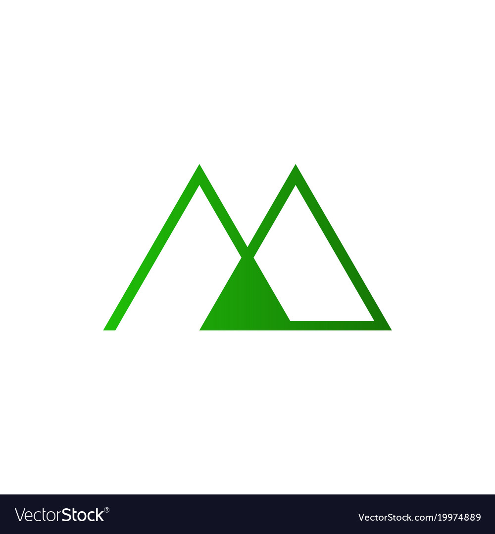 Abstract initial m letter mountain outline symbol