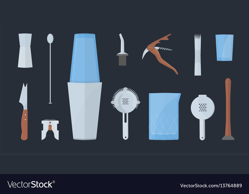 Barman equipment set colorful flat vector image