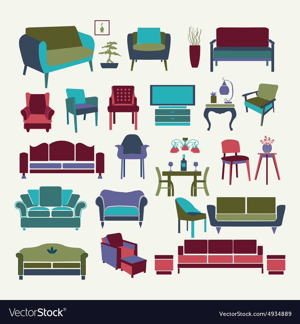 Collection of icons set Interior design elements