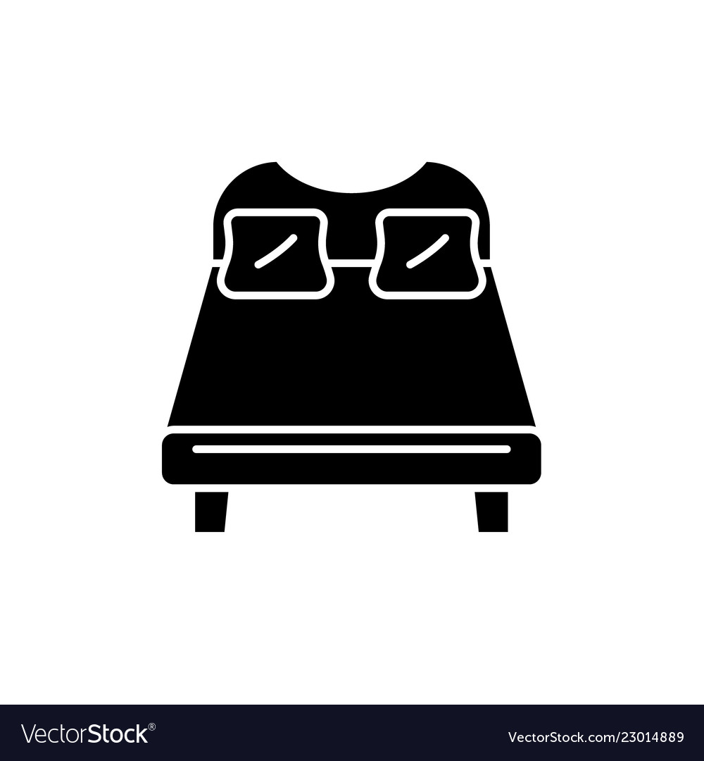 Double bed black icon sign on isolated