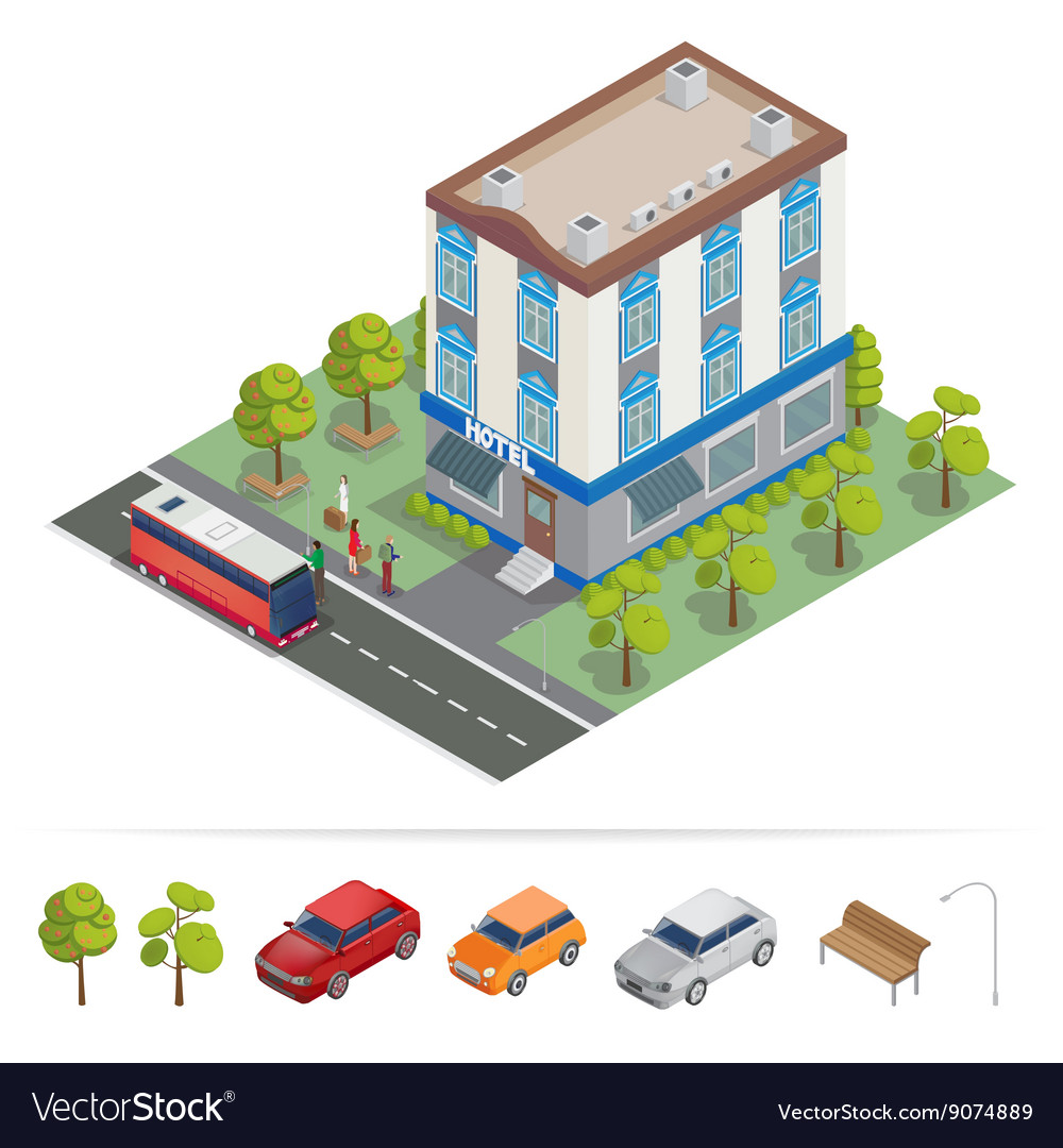 Isometric Hotel Hotel Building Travel Industry