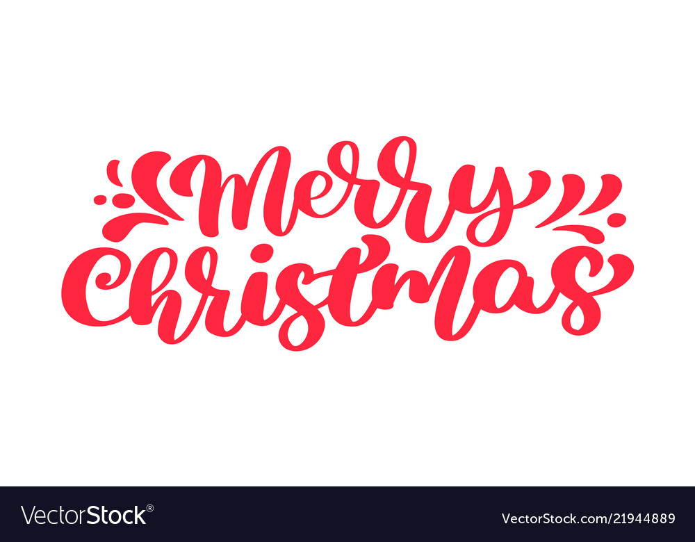 Merry christmas red text calligraphic
