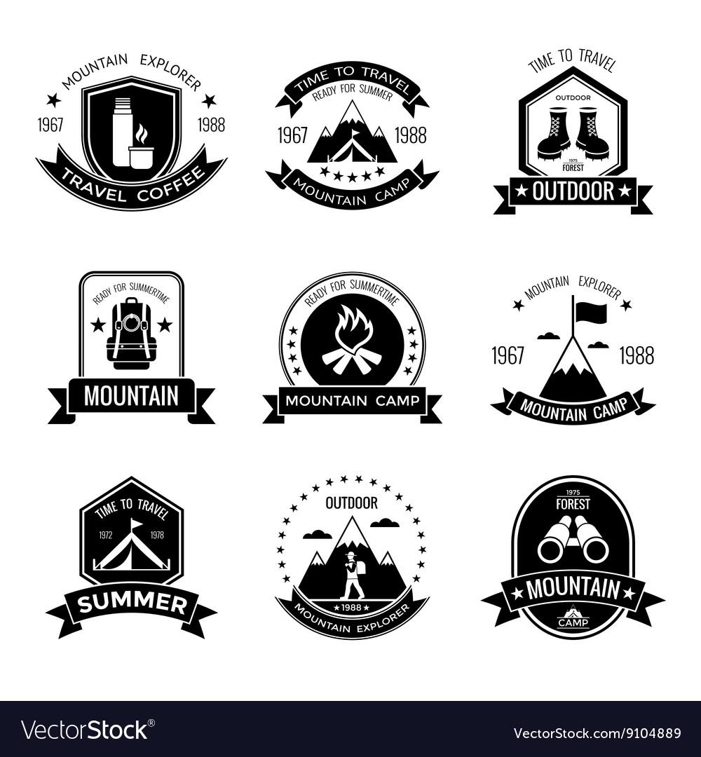 Mountain Camp Black White Emblems