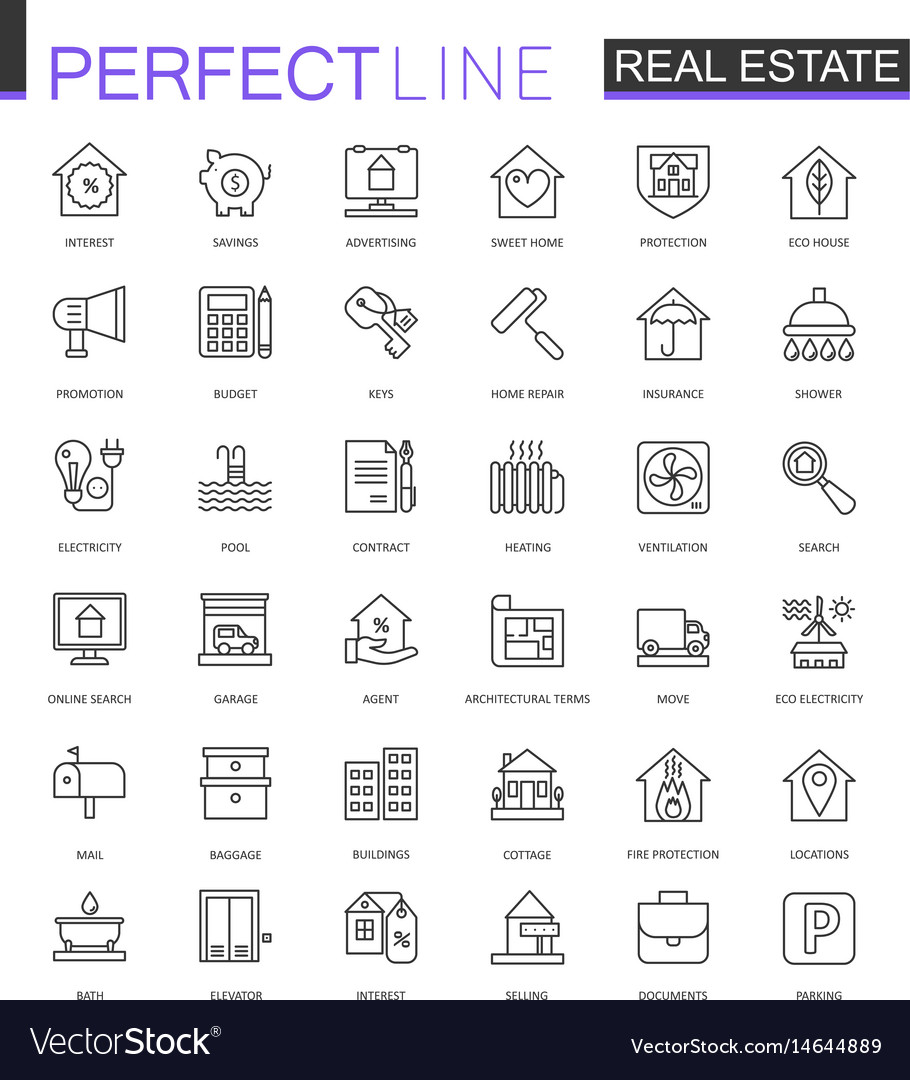 Real estate thin line web icons set outline