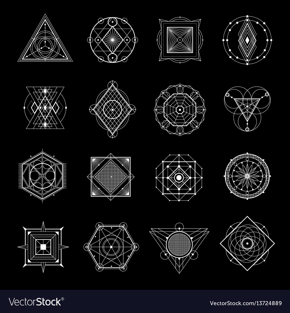 Sacred geometry on black set vector image