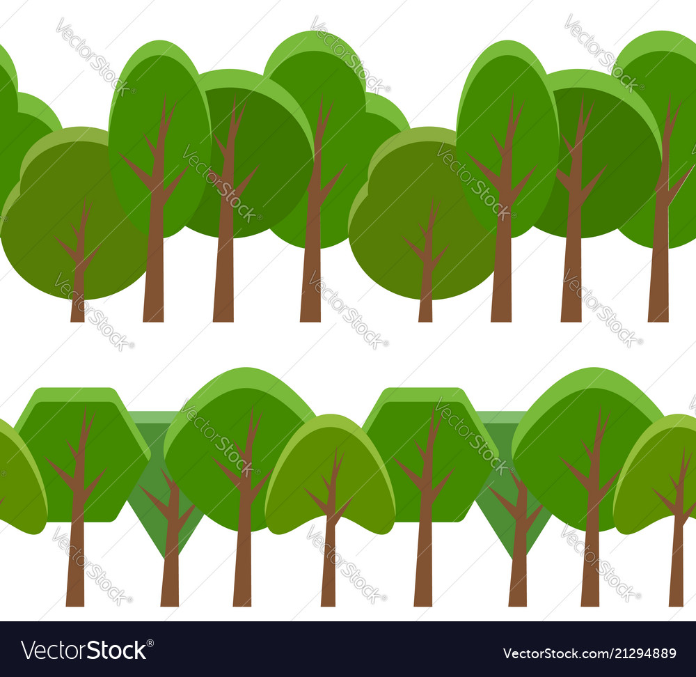 Seamless border with cartoon trees of different