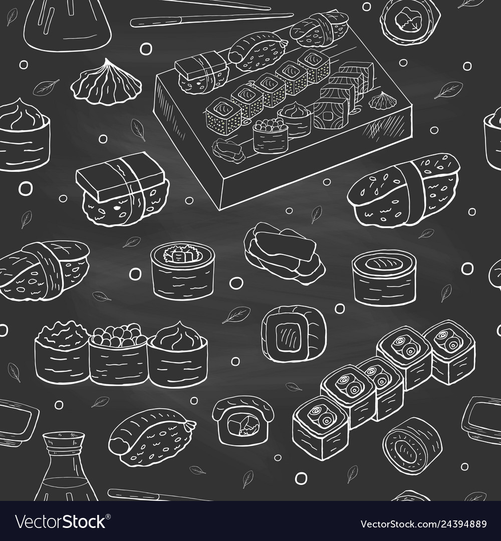 Seamless pattern with sushi collection on black