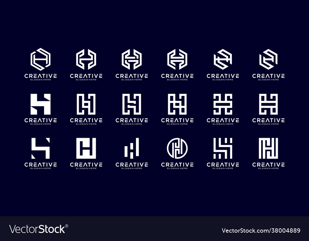 Set initial h abstract logo template