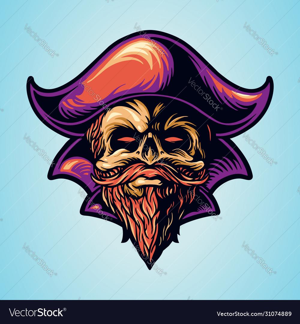 Skull pirate hand drawing logo
