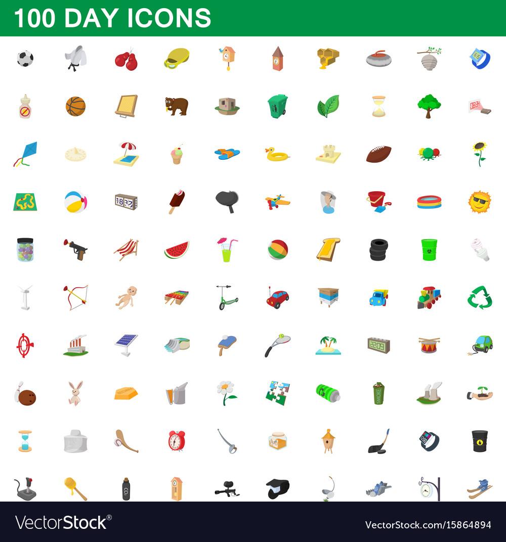 100 day icons set cartoon style