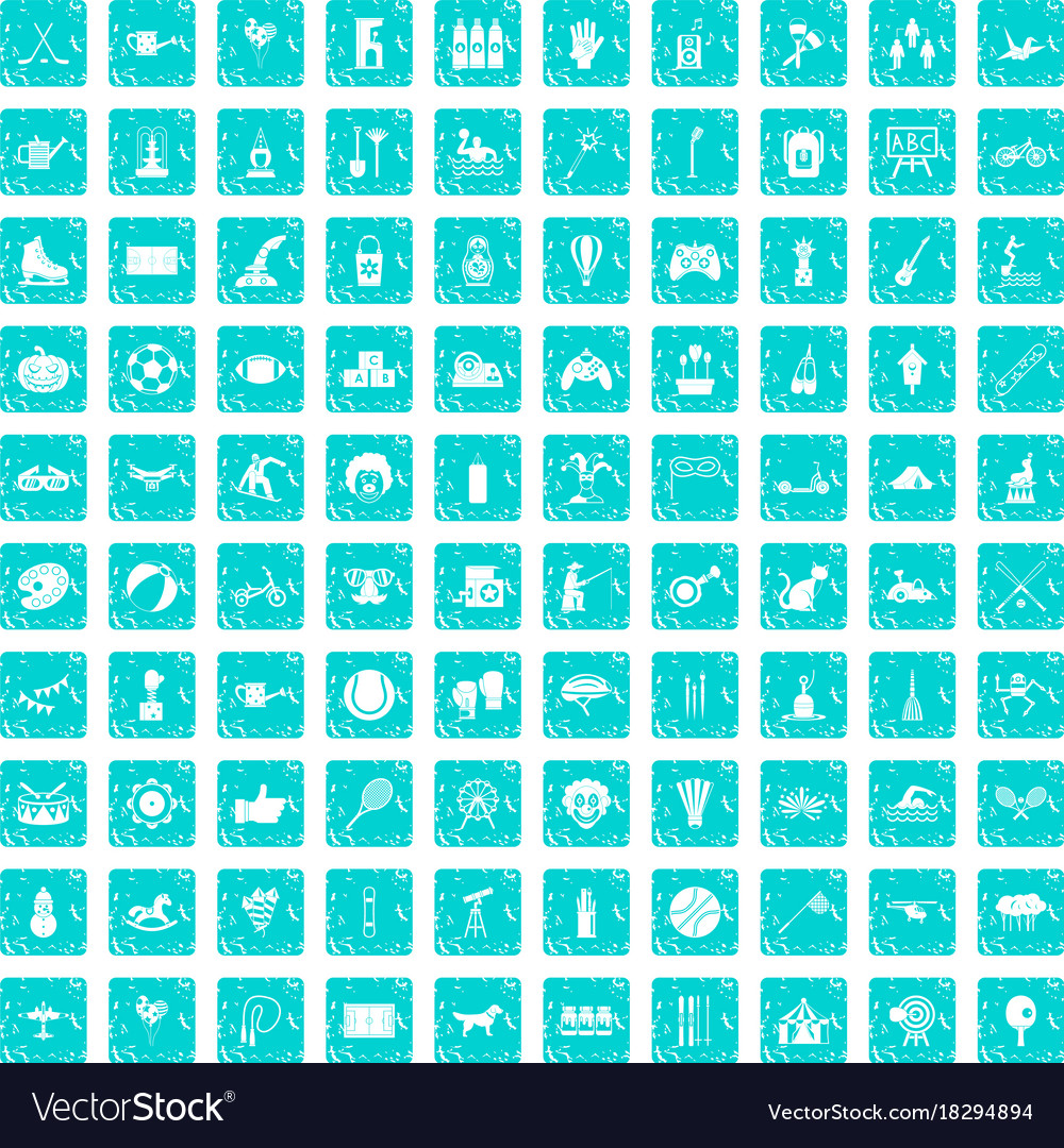 100 kids activity icons set grunge blue