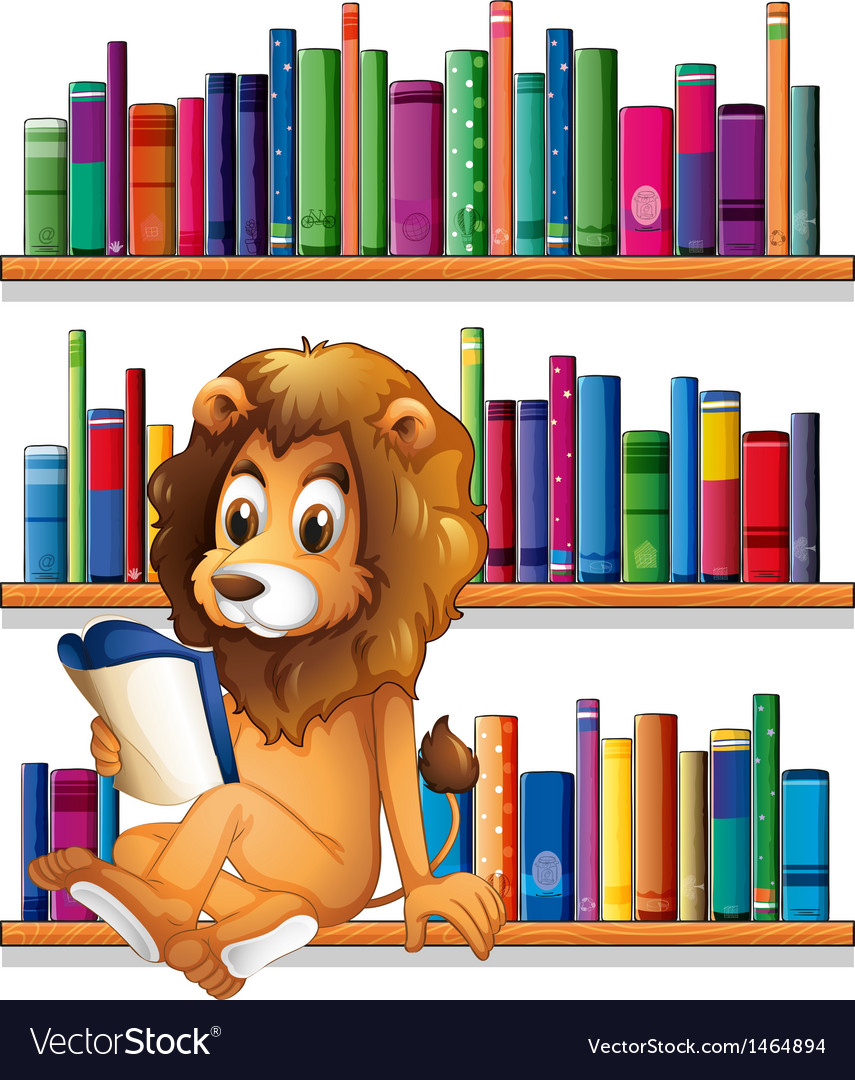 A lion reading a book while sitting on a bookshelf