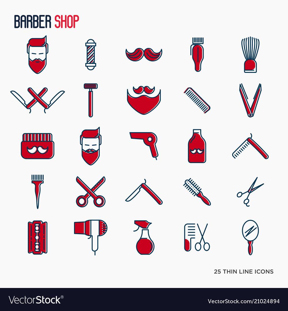 Barber shop thin line icons set