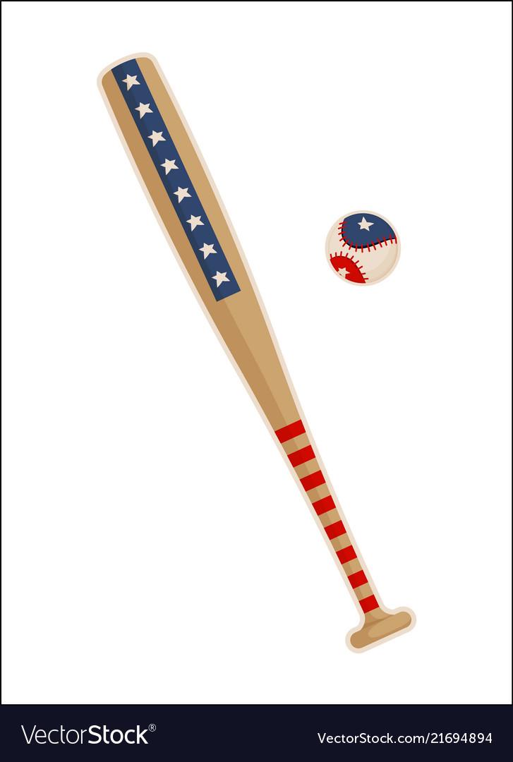 Baseball bat and ball with usa symbols patterns
