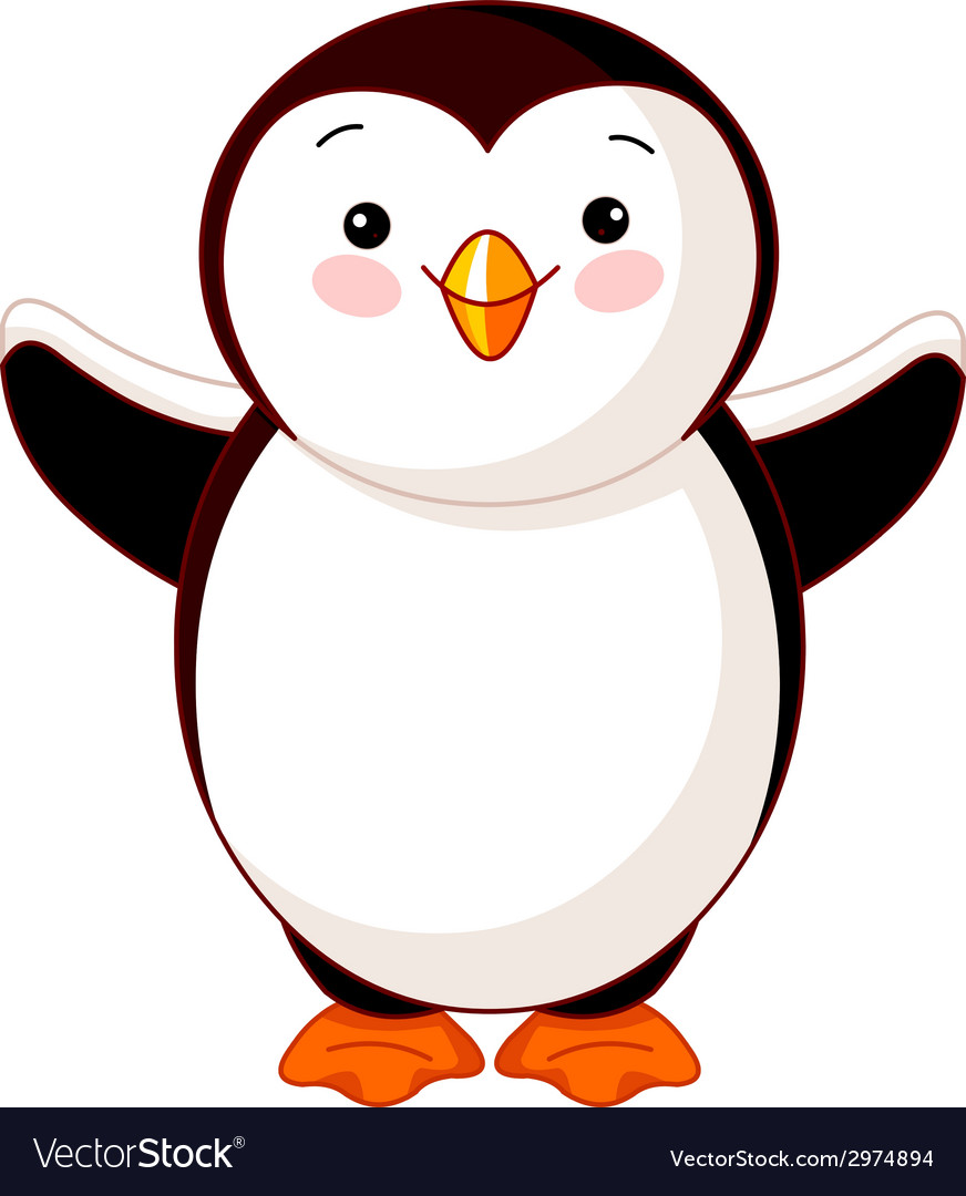 Cute baby penguin vector image