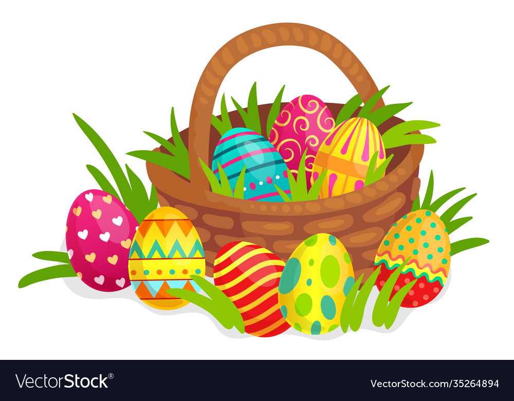 Easter decorated eggs in wicker basket colorful