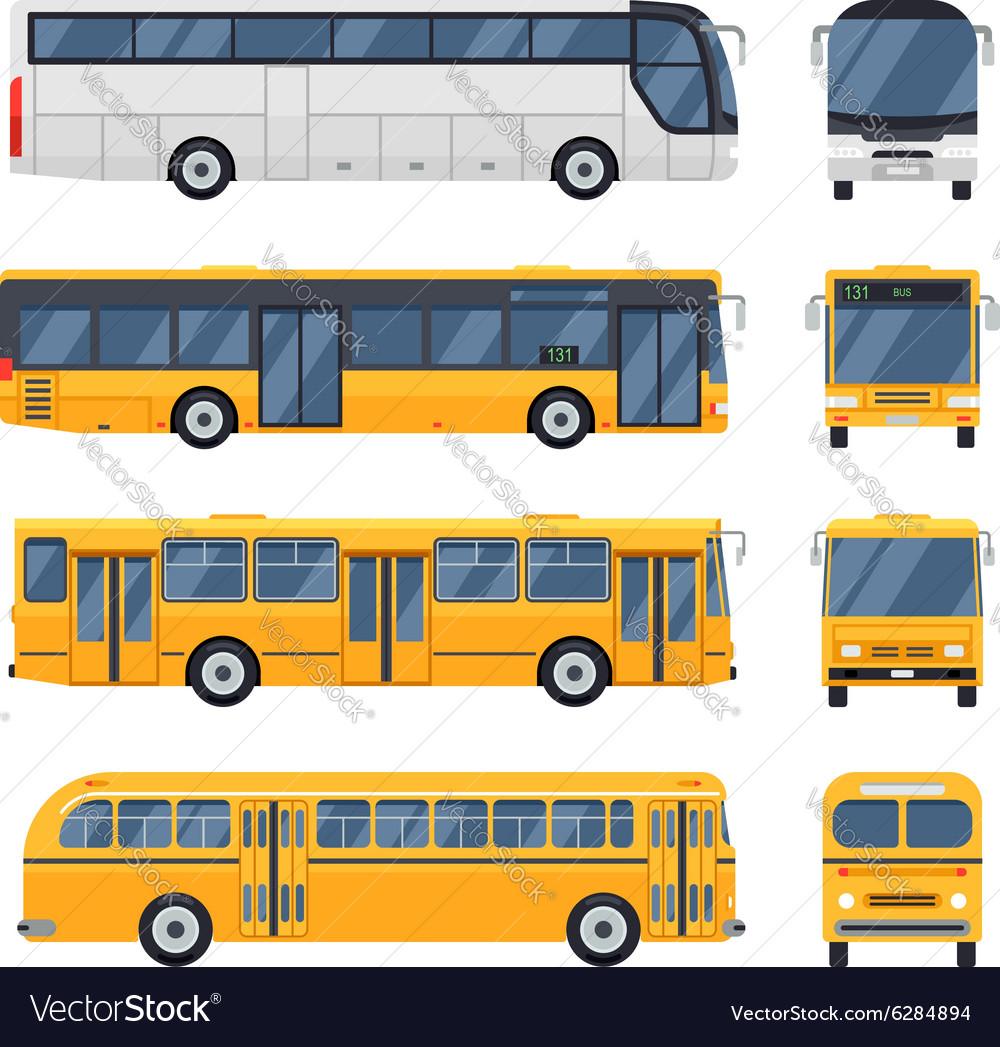 Flat design public transport Retro vintage Big