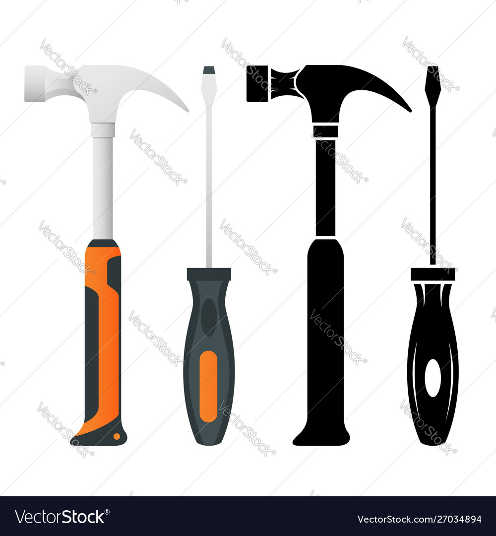 Flat iron hammer icons isolated on a white