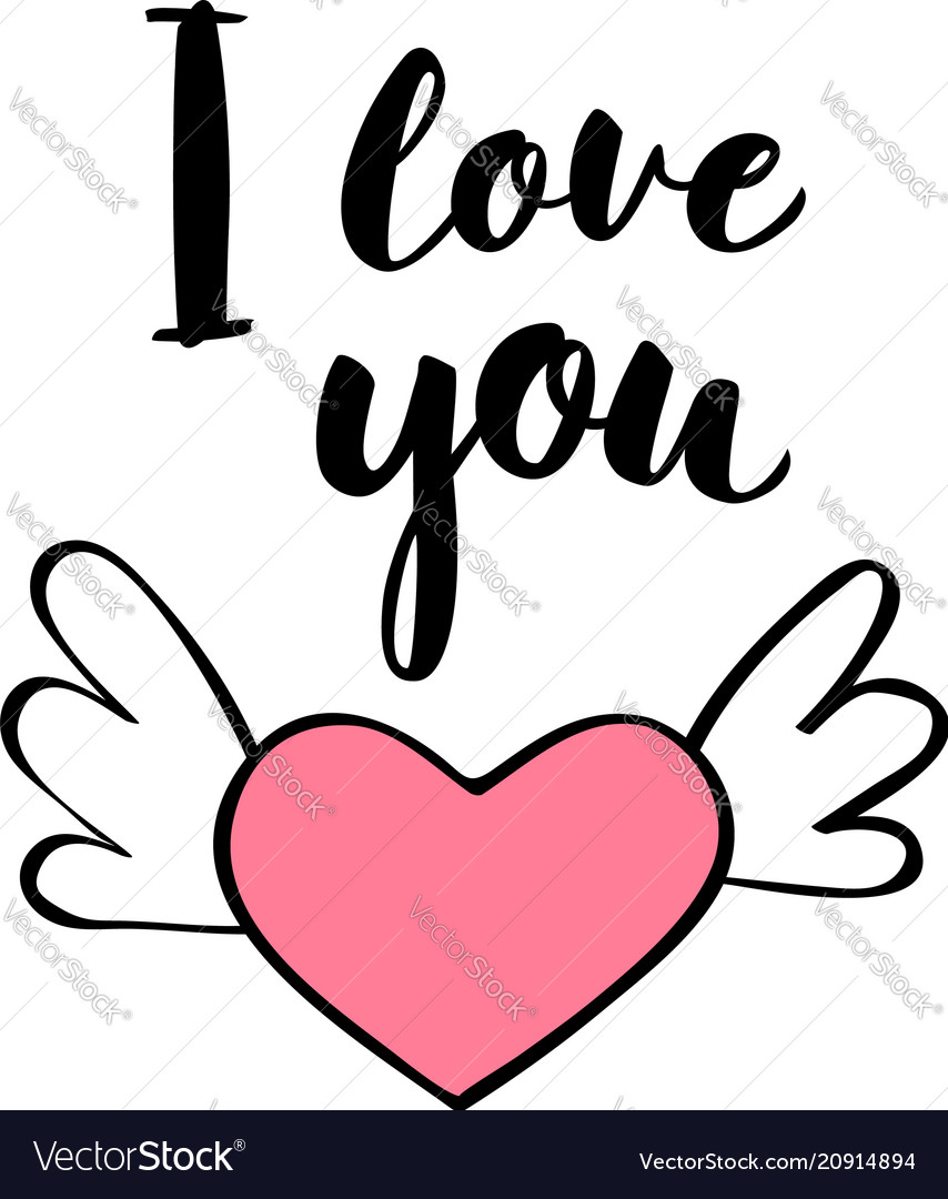 Hand written lettering i love you and heart shape