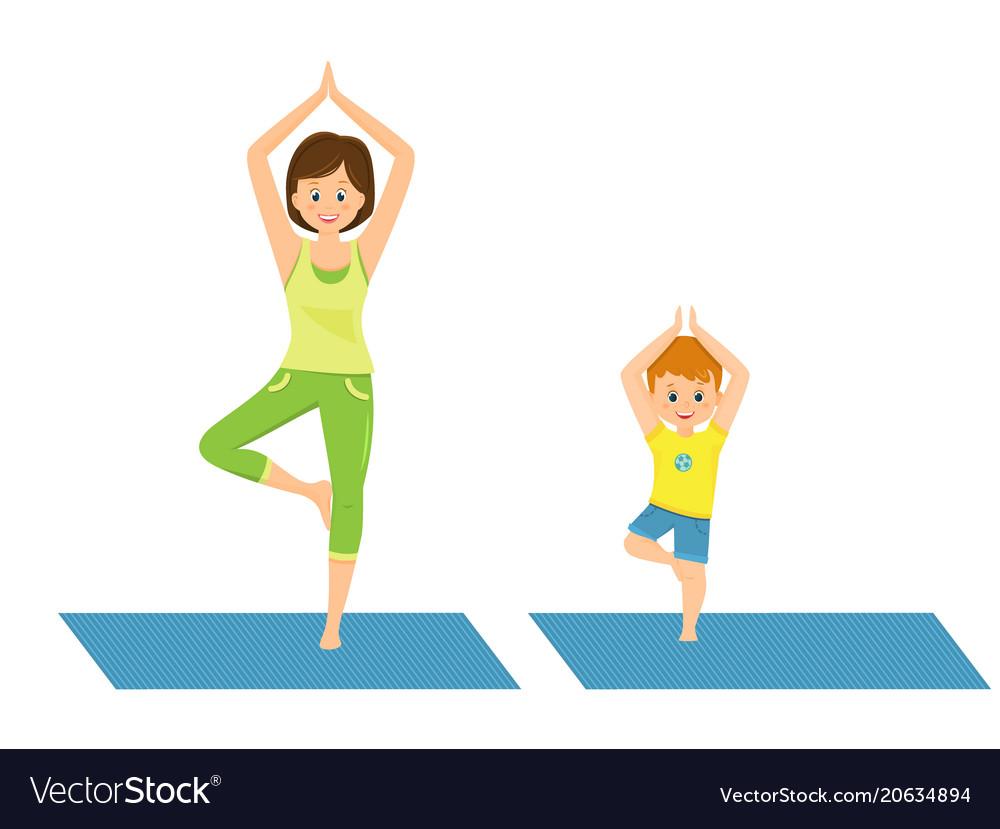 Mom and son doing yoga