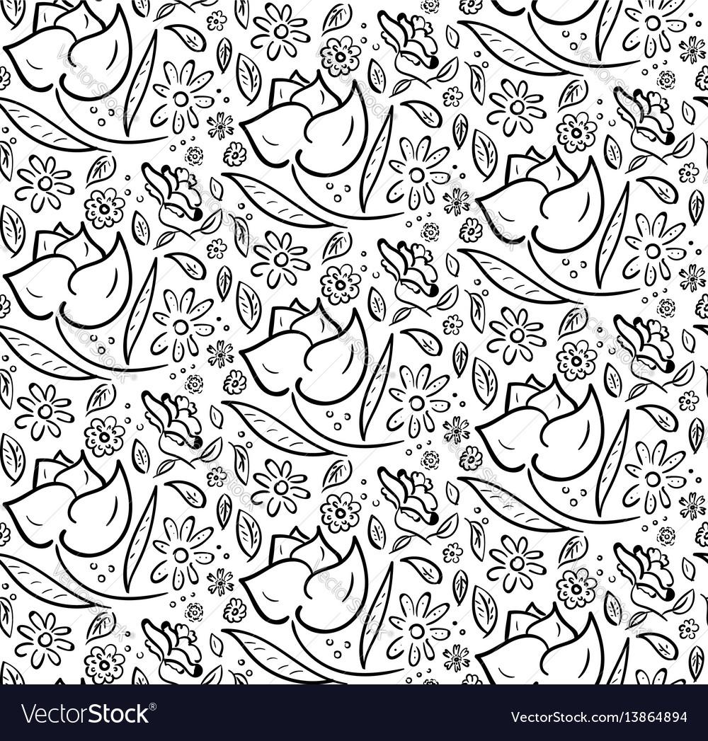 Monochrome hand drawn floral pattern